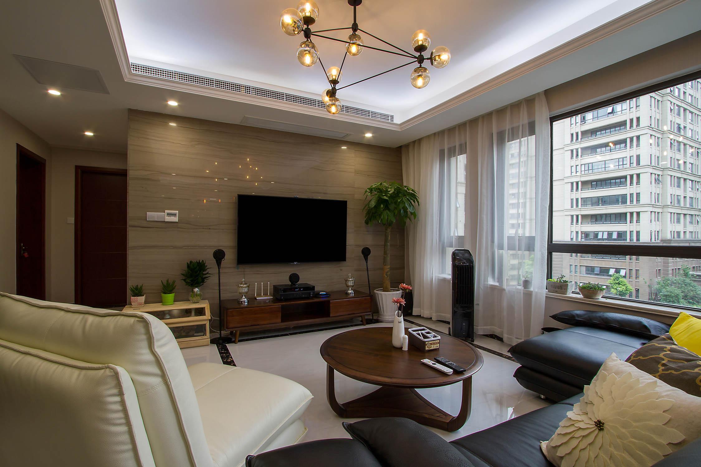 140平现代休闲风装修客厅设计图