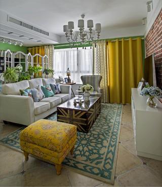 田园风格三居客厅设计图