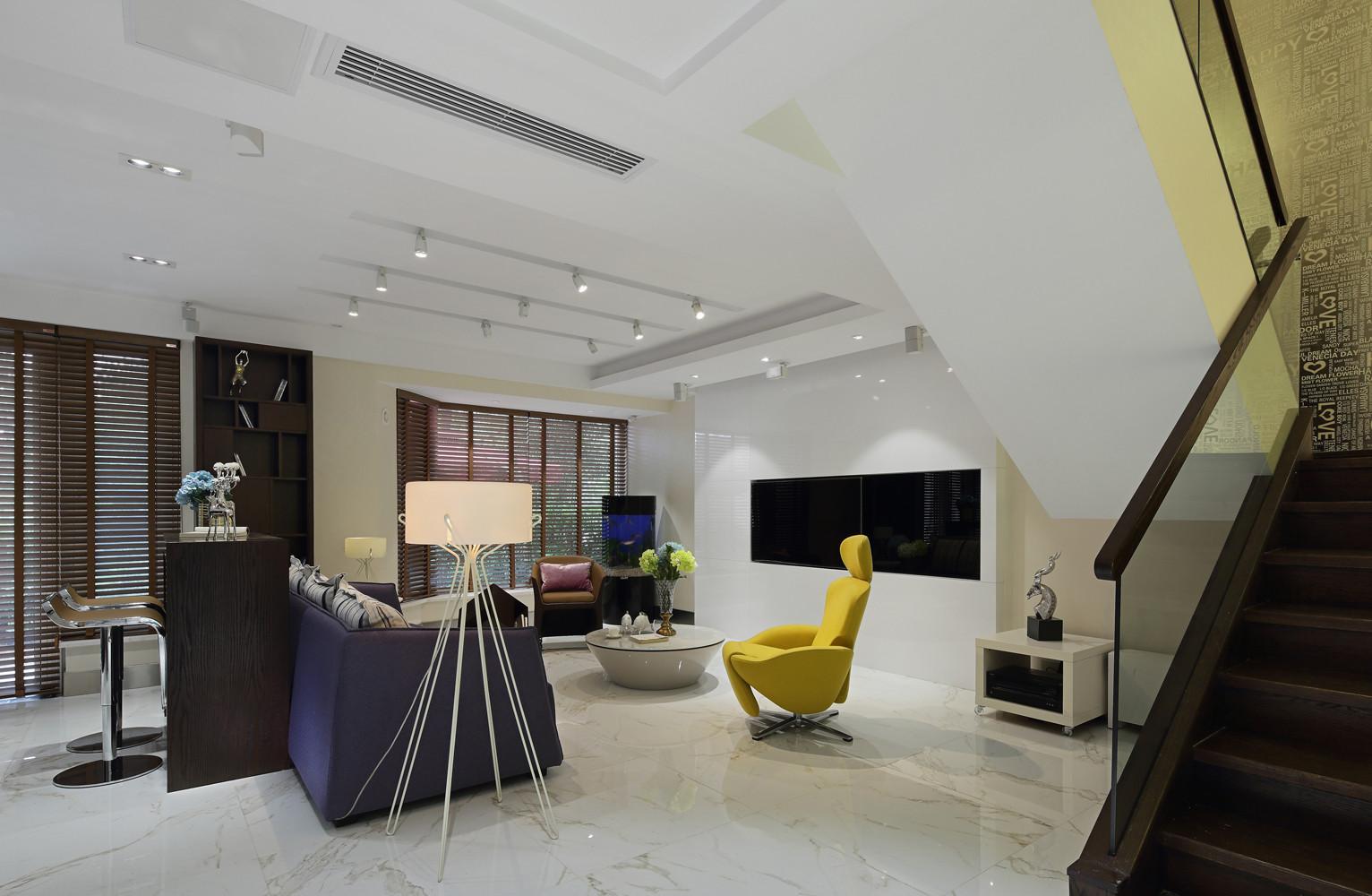 现代简约别墅客厅效果图
