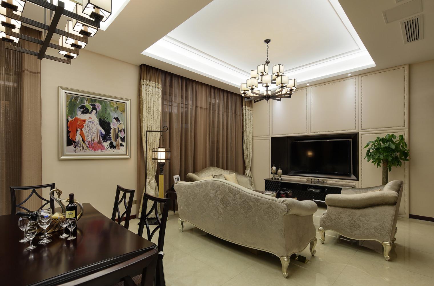 新中式风格复式装修客厅效果图