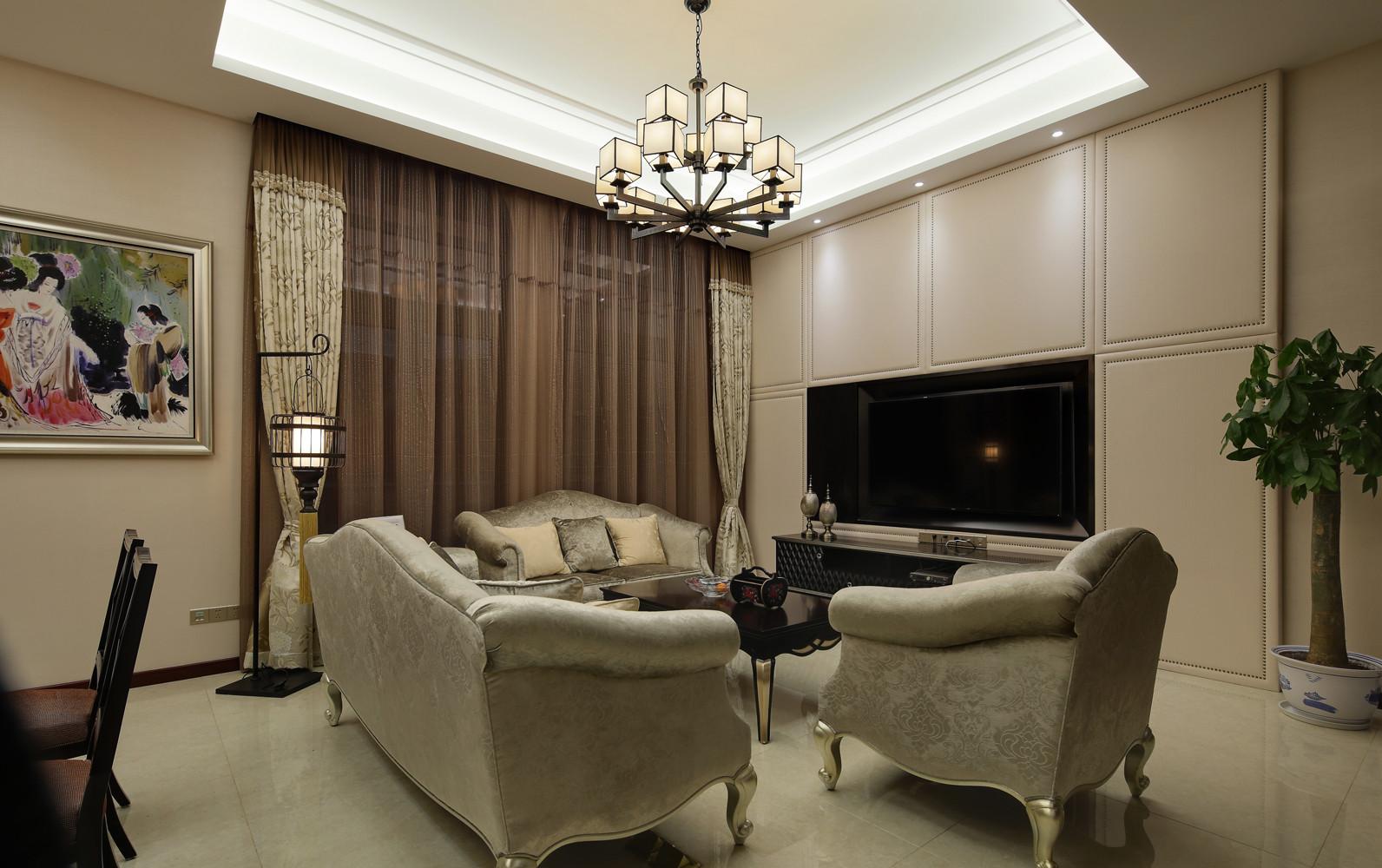 新中式风格复式装修窗帘图片