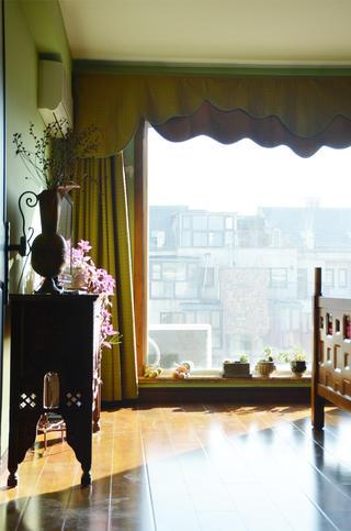 中式田园风格家窗帘图片