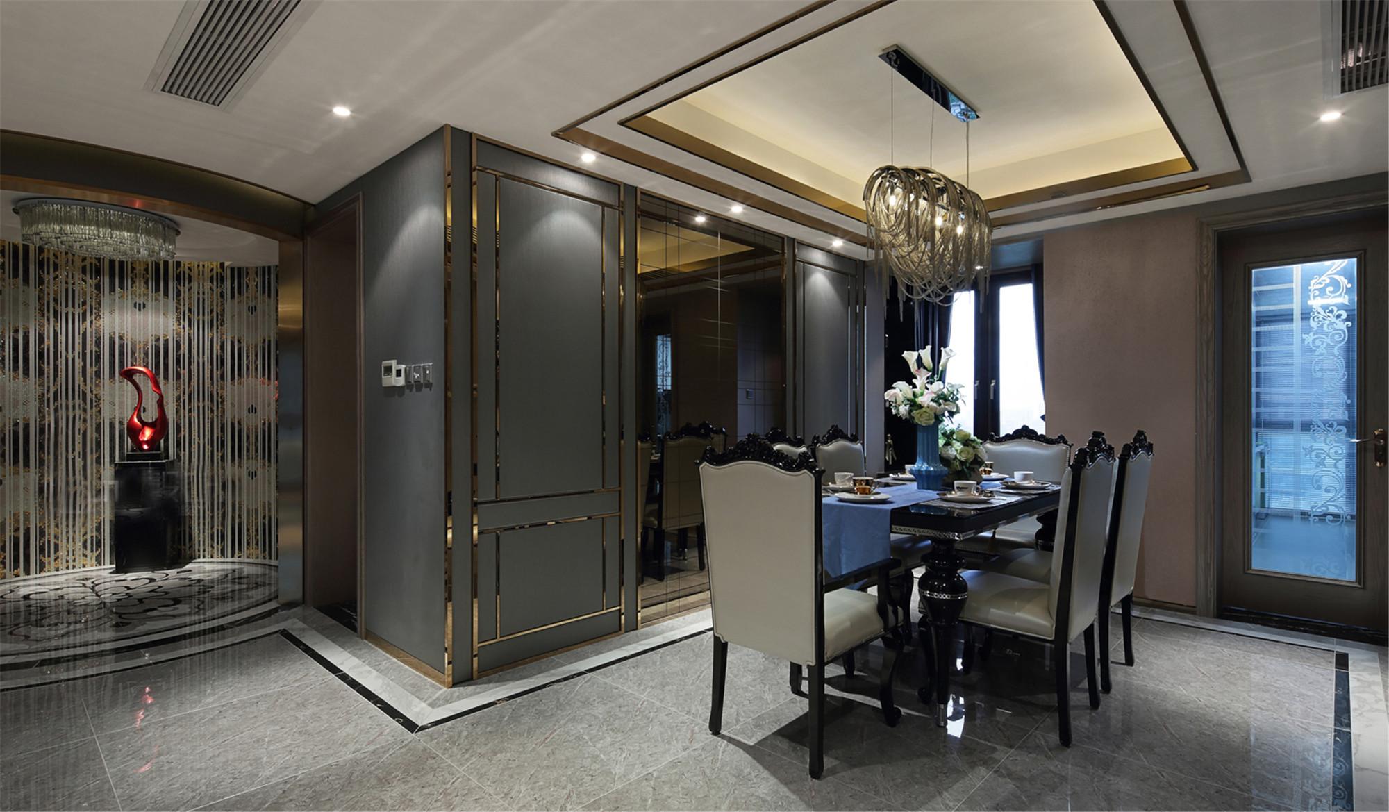 大户型现代奢华风装修餐厅设计图
