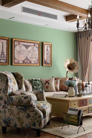 三居美式装修沙发背景墙图片