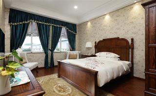 中式风格会所装修卧室效果图