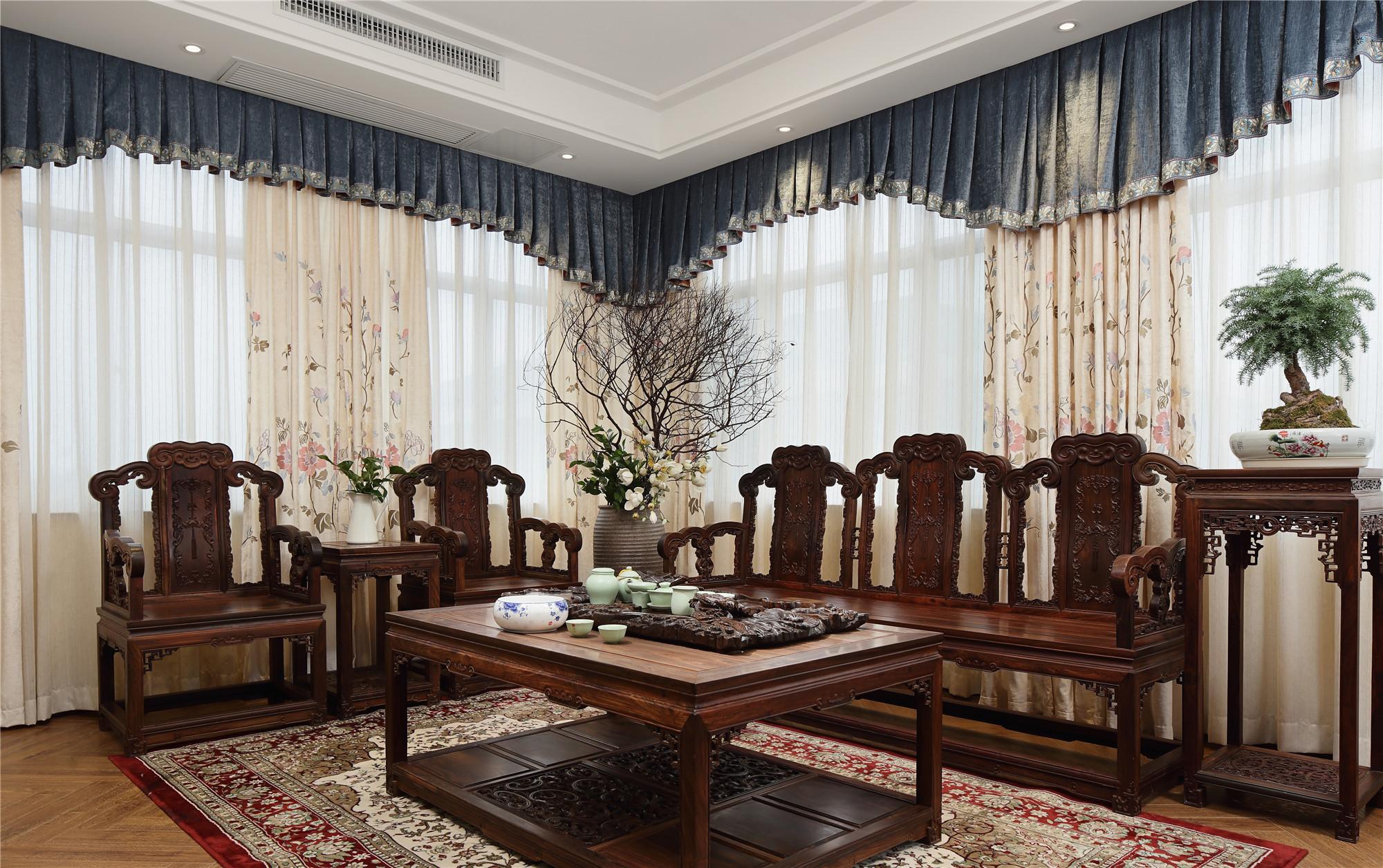 中式风格会所装修会客厅效果图