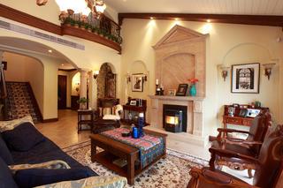 美式复式别墅装修客厅设计图