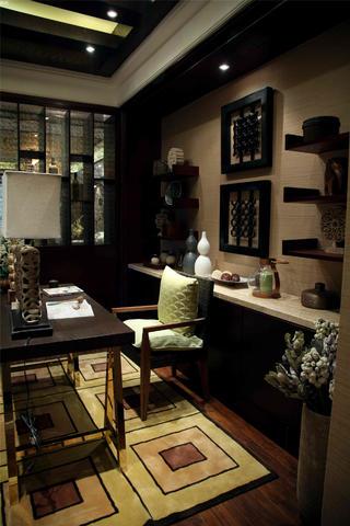 东南亚风格三居室装修书房设计图