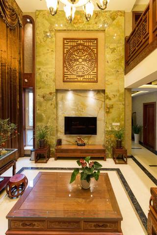 中式别墅装修电视背景墙设计