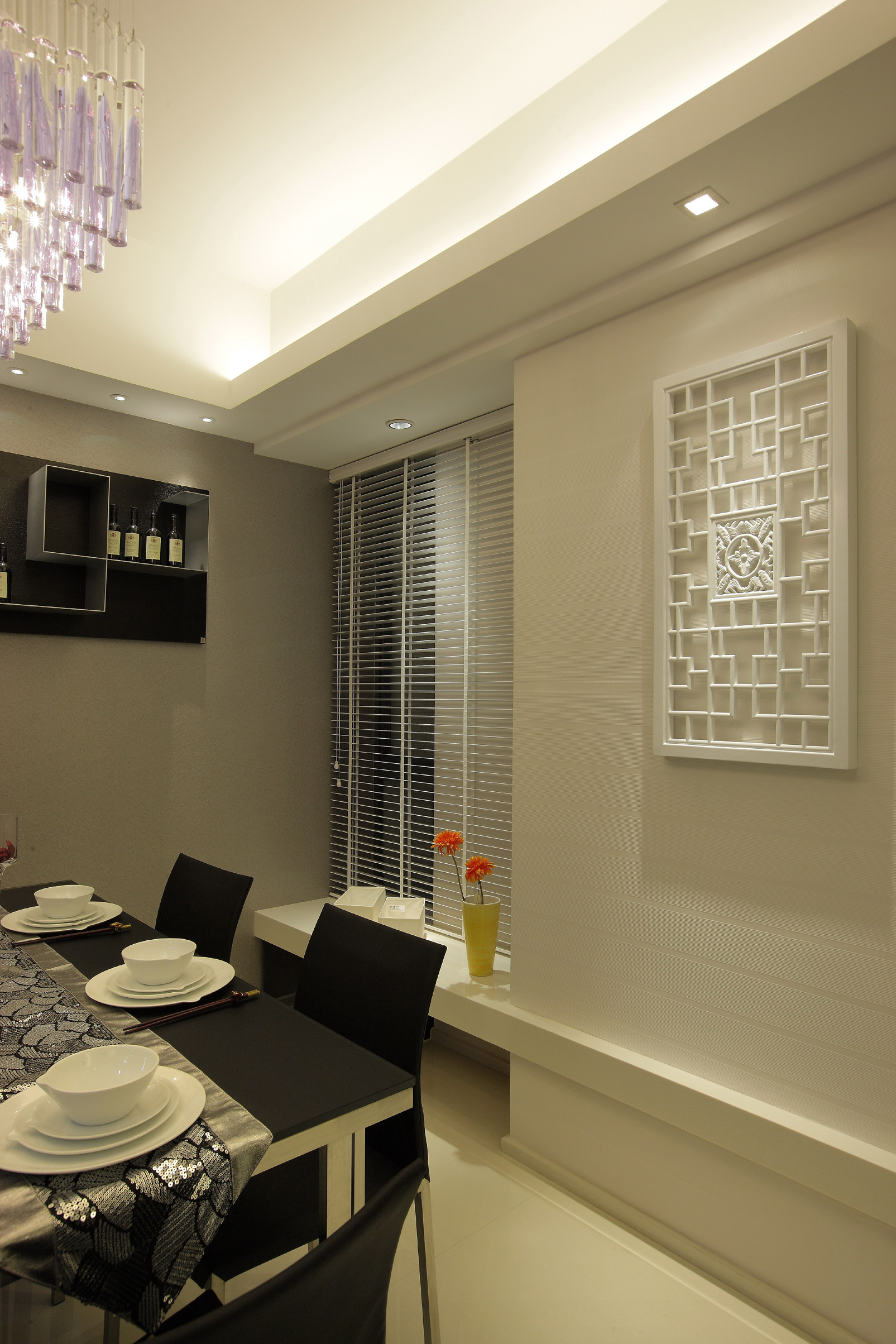 黑白灰简约二居装修餐厅效果图