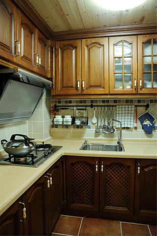 二居室田园美式家厨房设计图