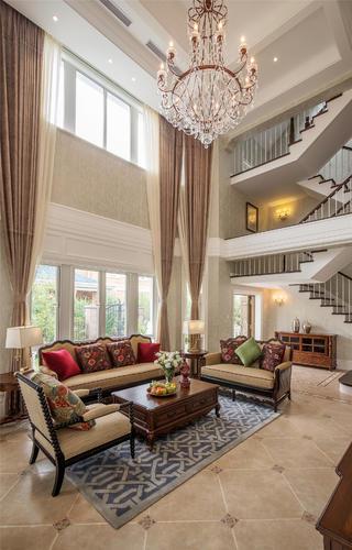 美式别墅装修窗帘图片