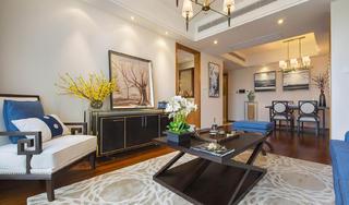 110平新中式风格装修客厅设计图