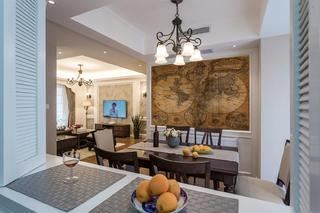 140平美式装修餐厅背景墙图片