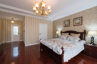 简美别墅装修卧室背景墙图片