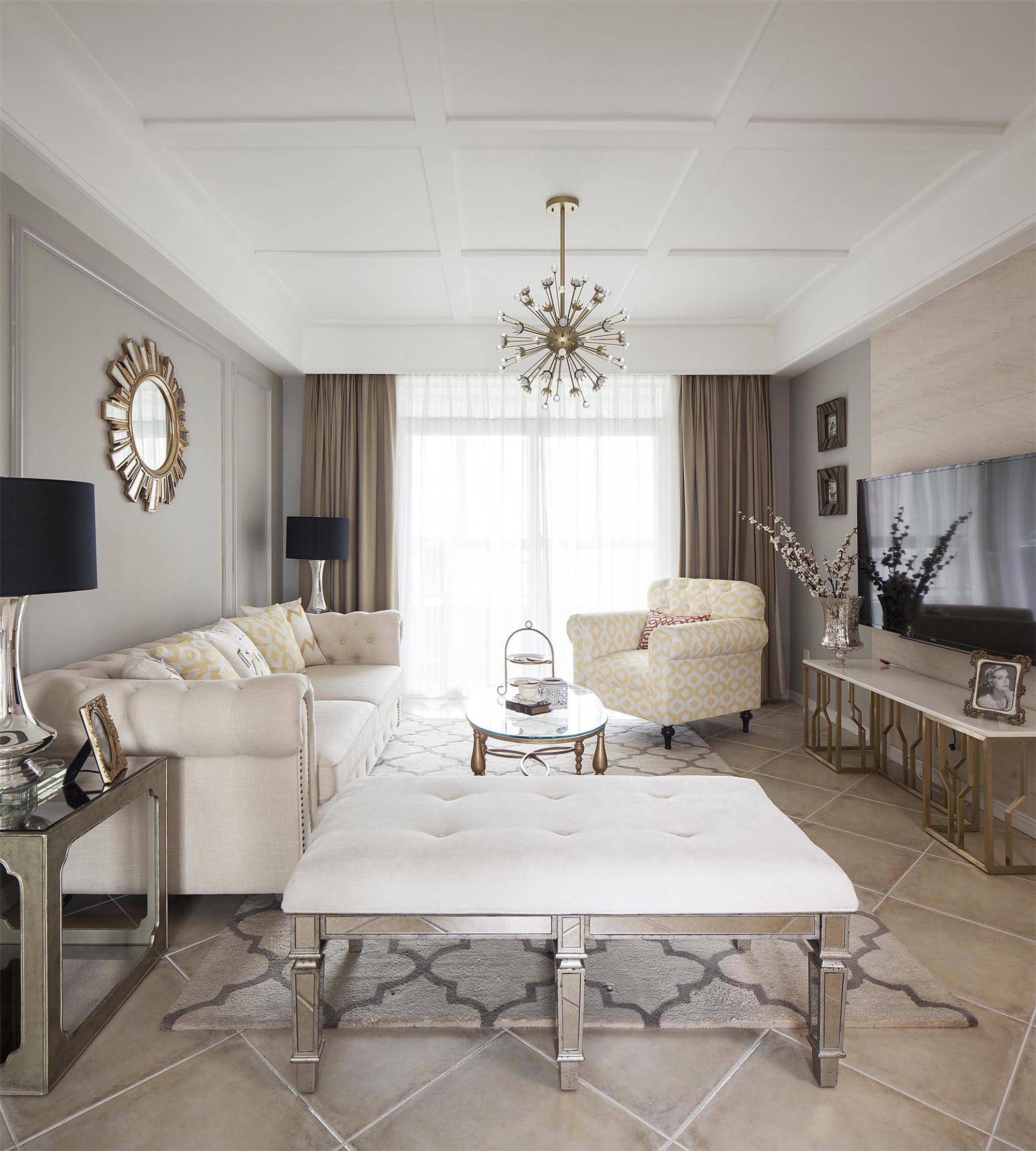 120平现代美式家客厅效果图