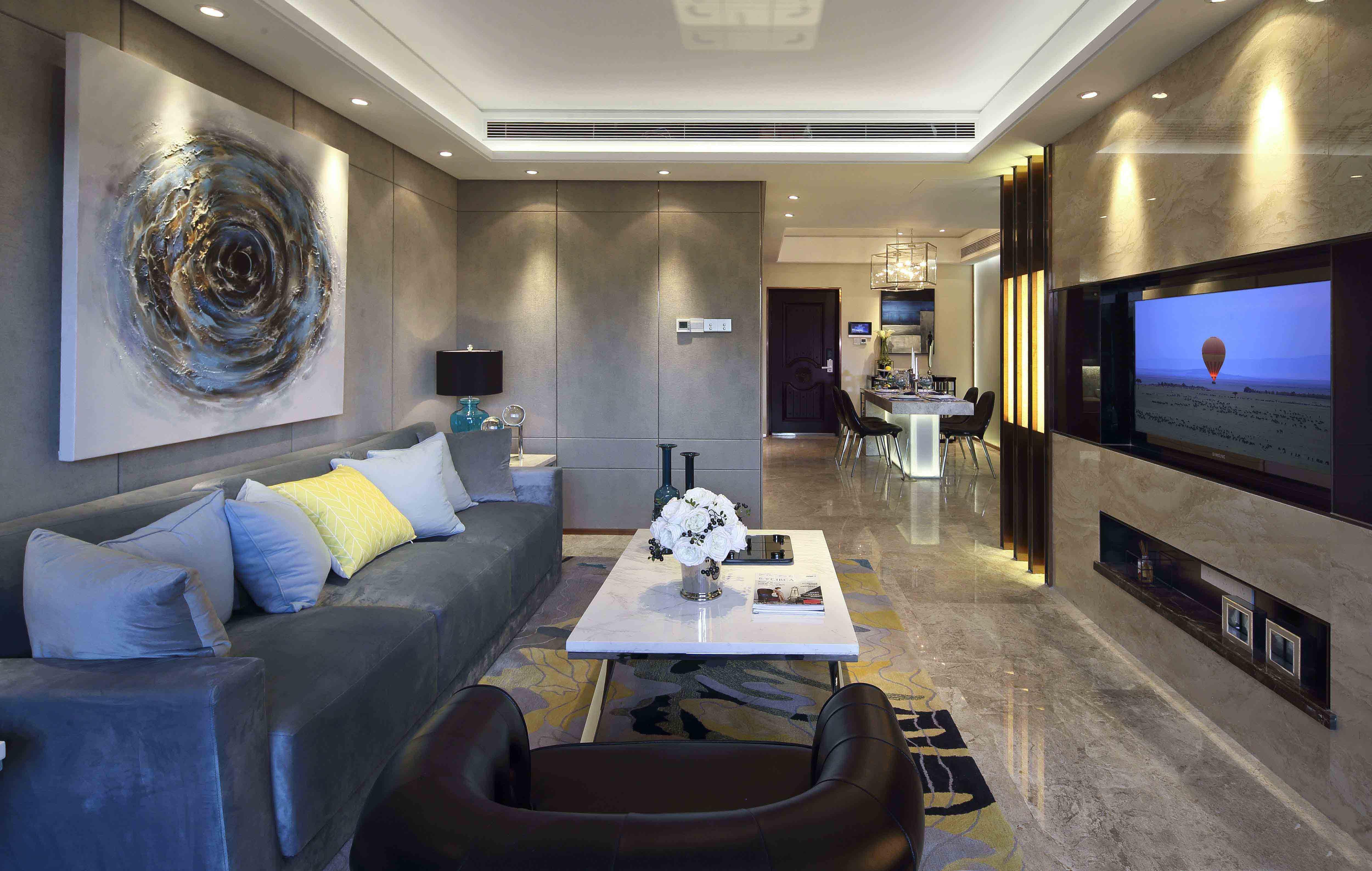 现代时尚三居装修客厅效果图