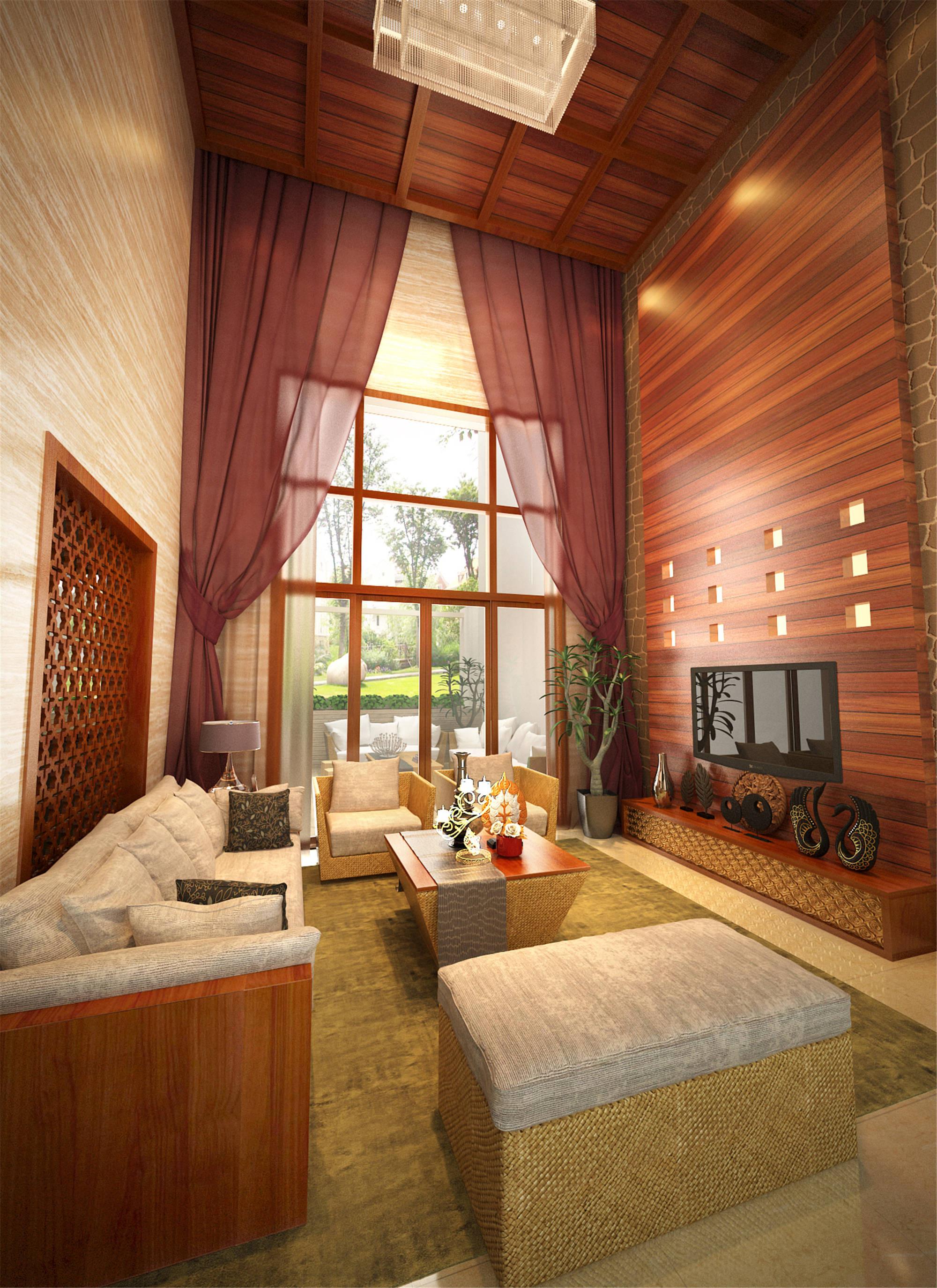 大户型东南亚风格装修客厅效果图