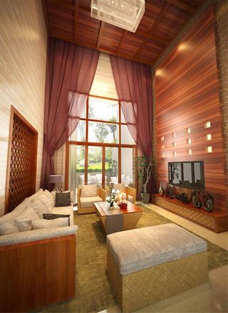 大戶型東南亞風格裝修客廳效果圖