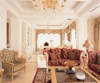 欧式豪华古典别墅装修客厅效果图