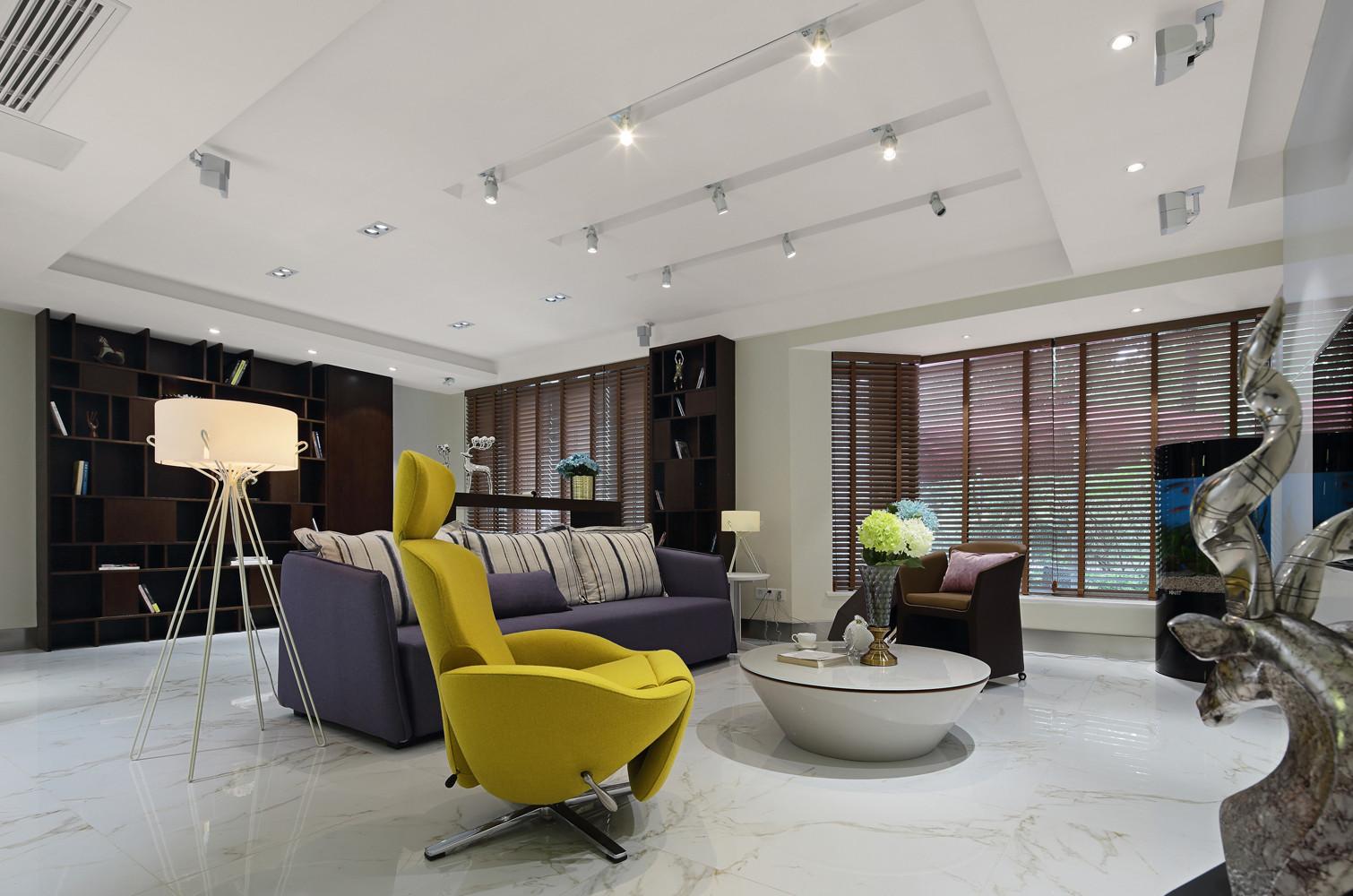 现代简约别墅客厅吊顶设计