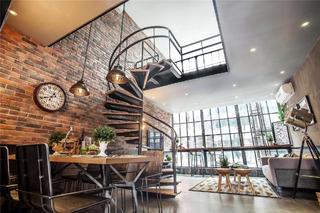 Loft混搭风公寓装修客餐厅全景图