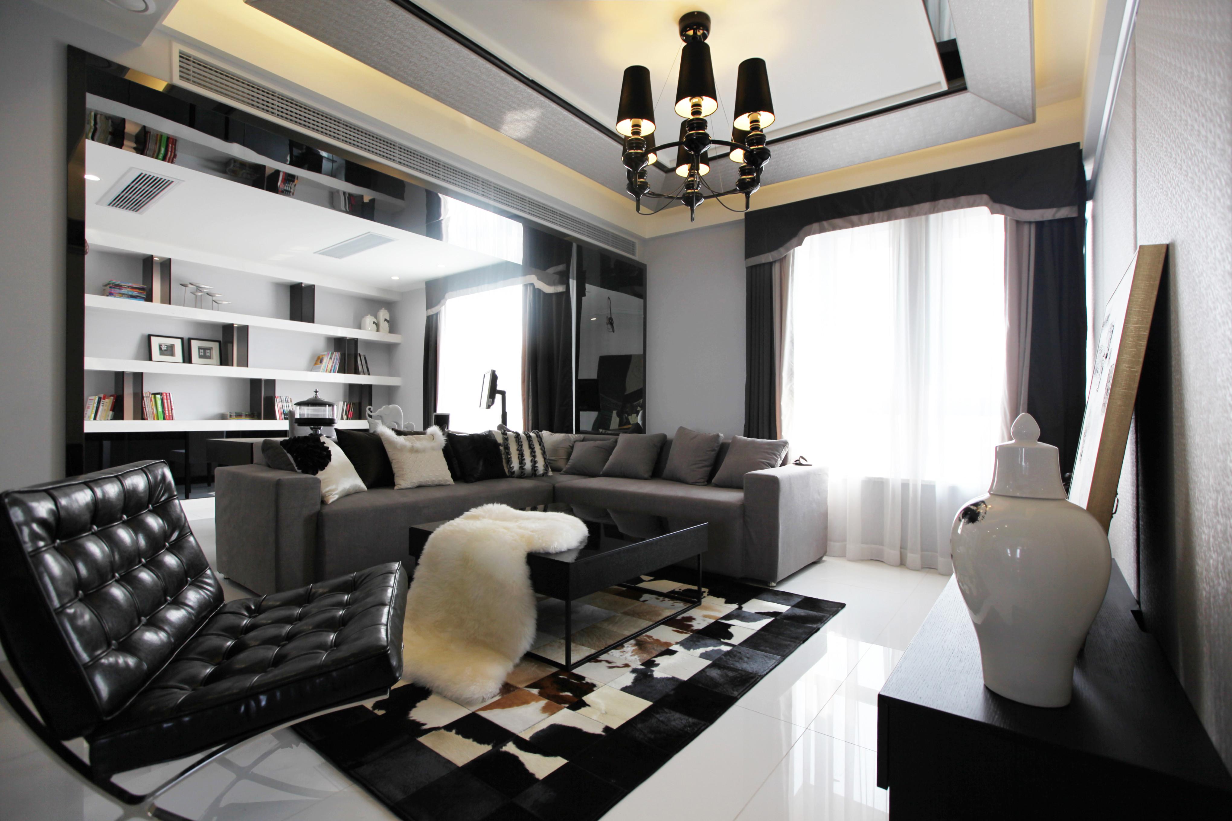 黑白灰调现代简约家客厅效果图