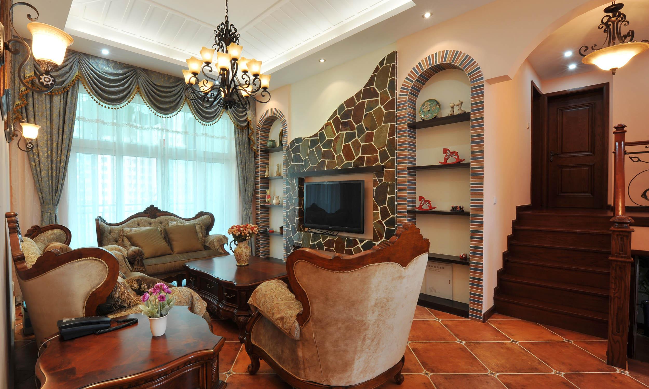 160平美式风格家客厅效果图