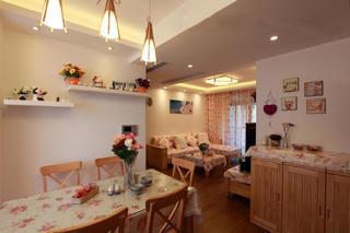 80平田园风格二居装修餐厅布置图
