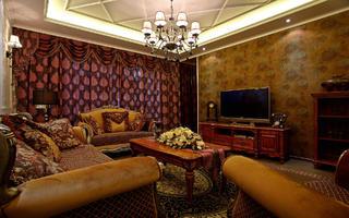 美式风二居装修客厅设计图