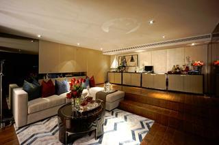现代复式装修起居室效果图