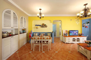 90㎡地中海风格家餐厅背景墙图片