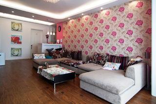 100平三居室装修沙发背景墙图片
