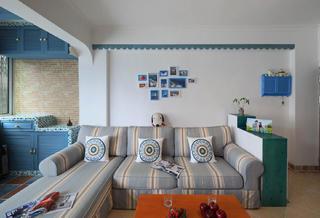 二居室地中海风格家沙发背景墙图片