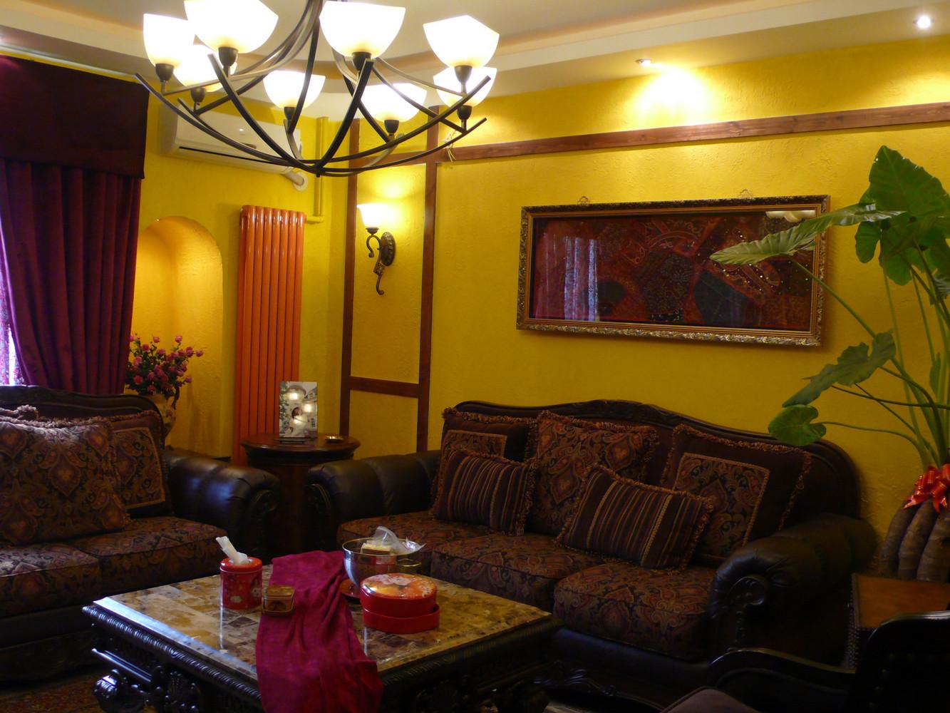 小户型田园风格装修沙发背景墙图片