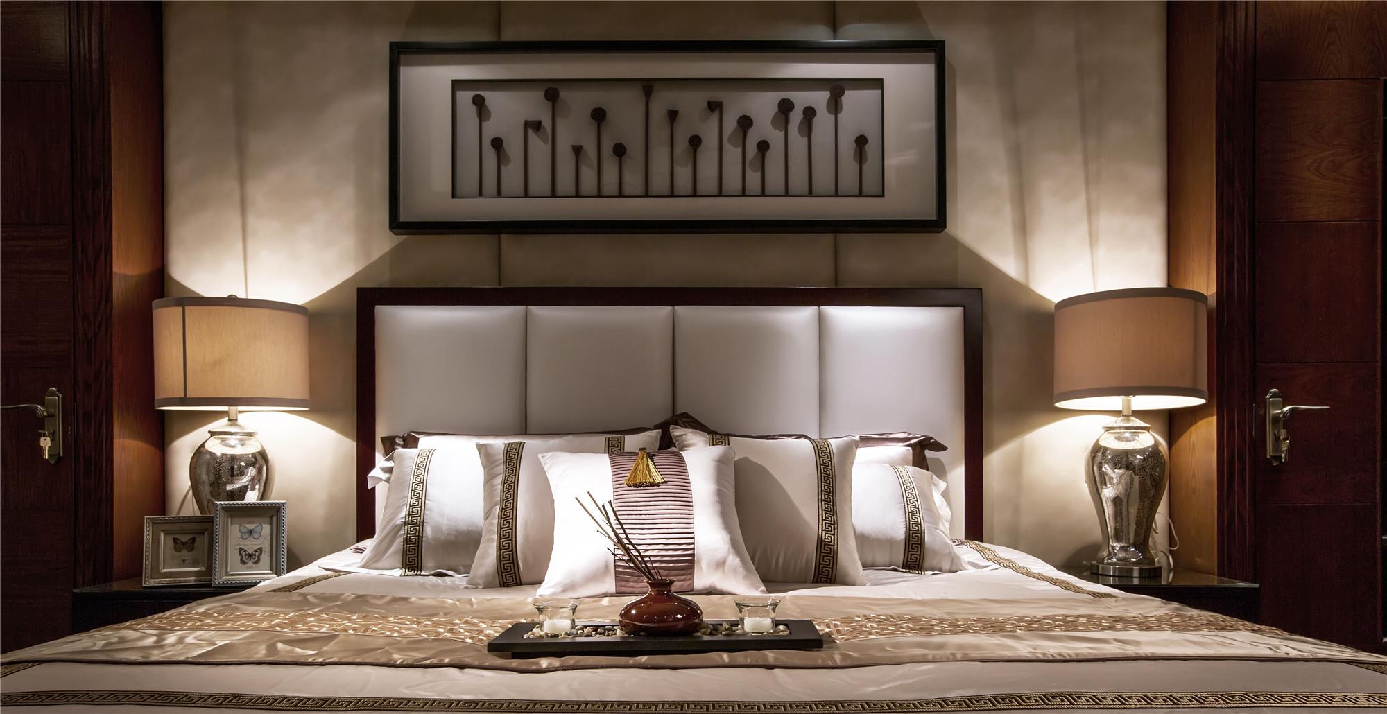 大户型新中式装修床头背景墙设计