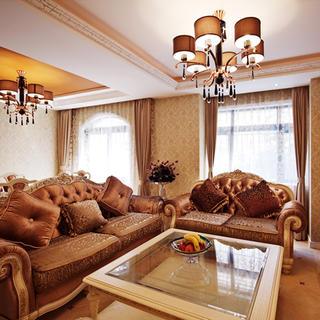 160平复式欧式风格客厅装修效果图