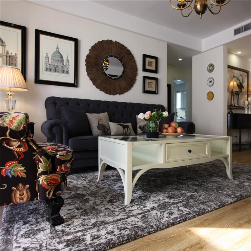 100㎡三居室美式沙发墙装修设计效果图