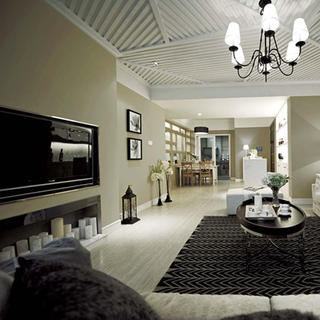 三居室现代简约客厅装修效果图
