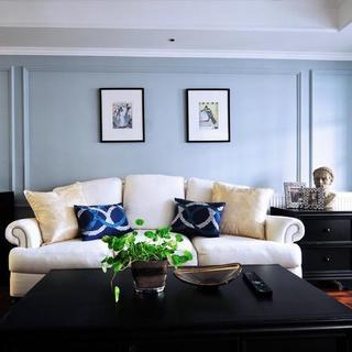 两居室美式风格家沙发背景墙图片