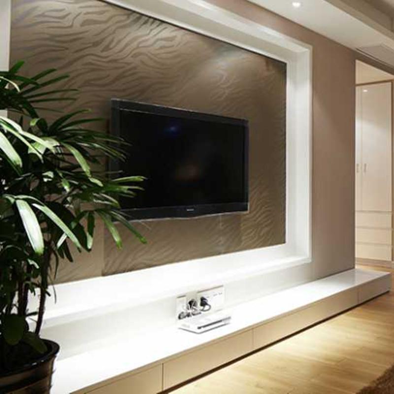175平三居室装修电视背景墙图片