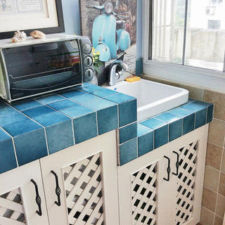 小户型地中海风格公寓装修洗手台图片
