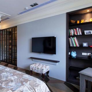 120平田园风格两居室装修电视背景墙图片