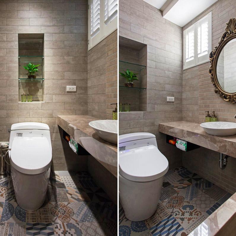120平田园风格两居室装修卫生间装潢图