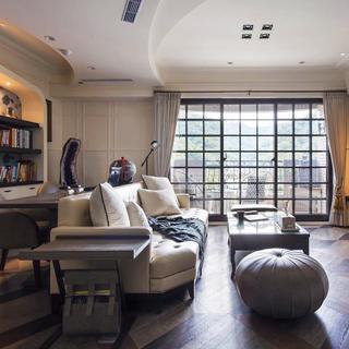 120平田园风格两居室装修客厅吊顶