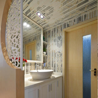 70平现代简约两居装修洗手台图片