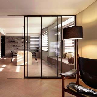 两居室简约风格家玻璃移门隔断