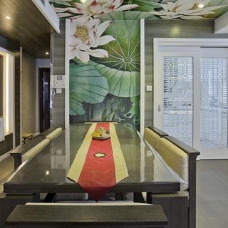 现代中式复式装修餐厅背景墙设计