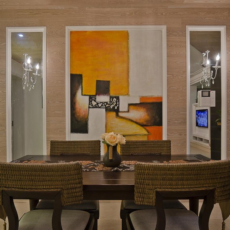 130平现代简约三居装修餐厅背景墙图片