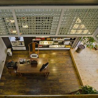 现代中式复式装修书房俯视图